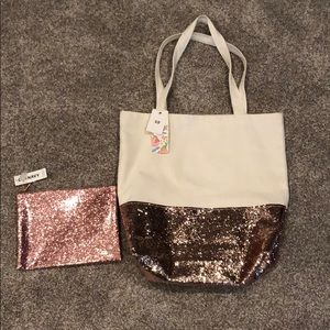 Sparkle tote and zipper bag
